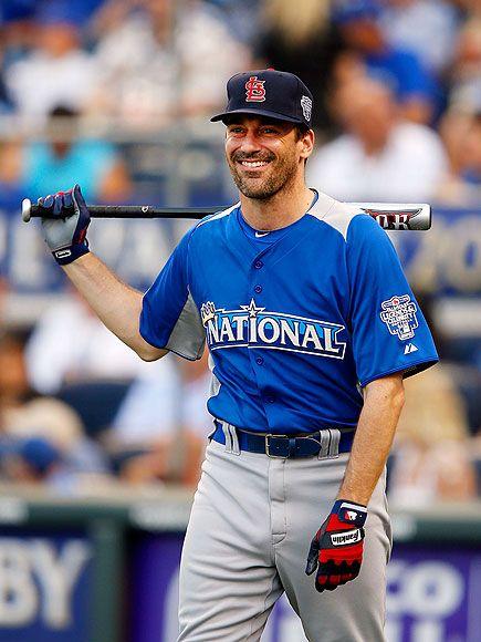It's ok, Jon Hamm, I can look past that St. Louis hat. But I do want to stare at you in that baseball uniform ;)Basebal Players, Baseball Pants, Jon Hamm, Madmen, Stl Cardinals, Mad Men,  Baseball Players, Basebal Pants, Mad Man
