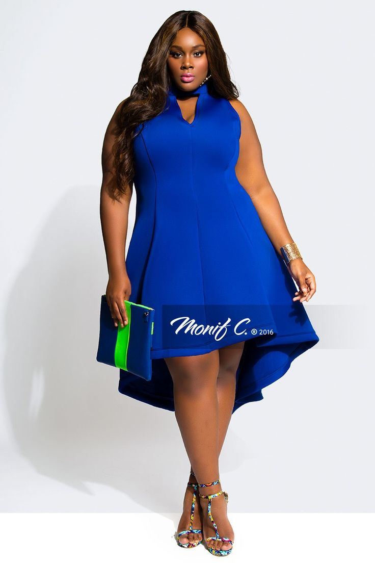 Great blue plus size dress -Monif C