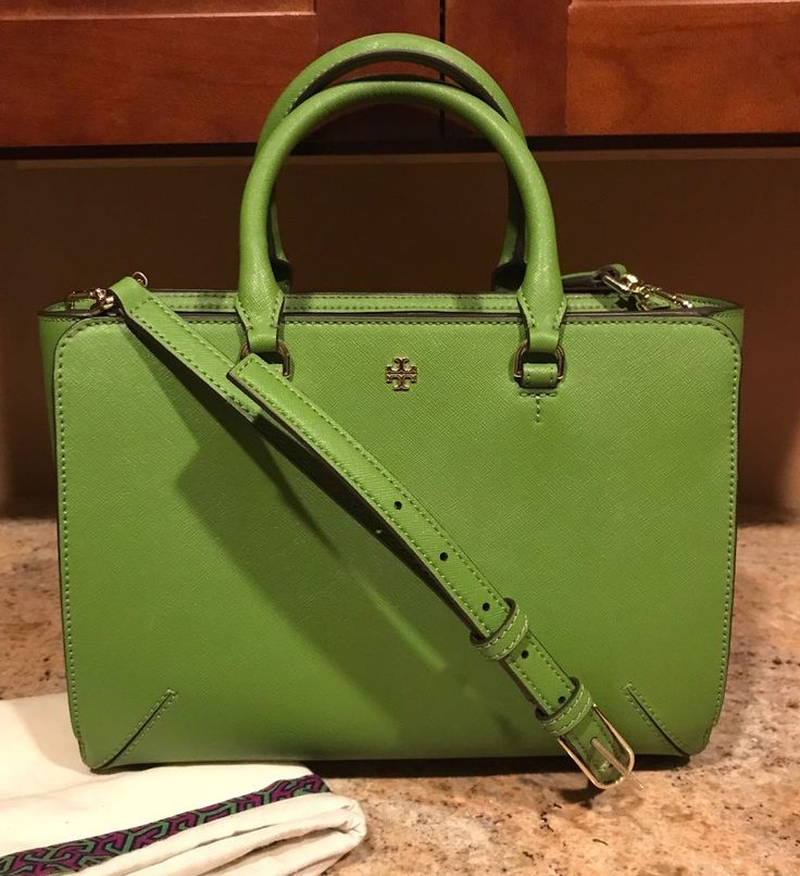 Tory Burch Robinson Leather Zip Tote Green | eBay