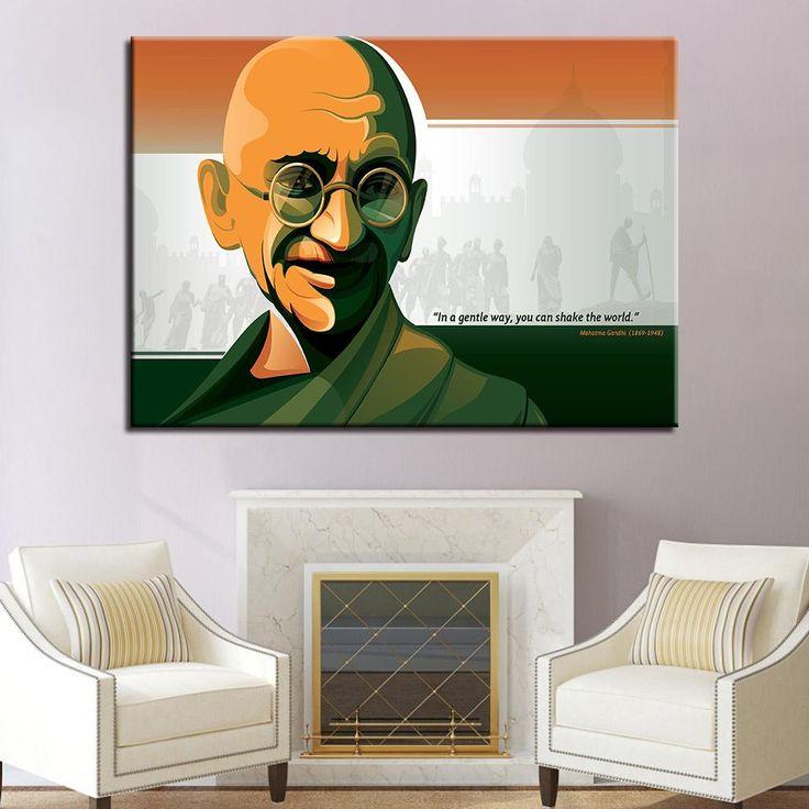 Gandhi Figure Peace Paintings 1 Piece Wall Art
