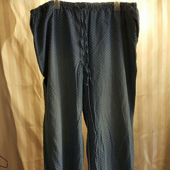 Women's blue and white polka dots pants VERY nice light fabric. Great for summer or spring! Worn only once, they are to long for me. Fabruc looks like jean but feels like linen / cotton Pants Wide Leg