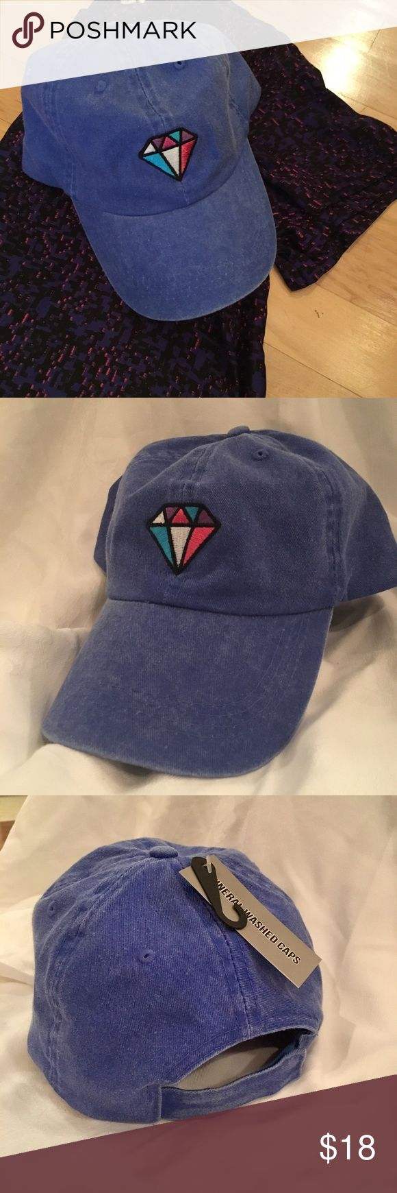 🆕Trendy Blue Washed Out Diamond Hat Brand New!! This hat is soooo cute! It's a blue color that almost looks like a washed out denim! The closure on the back is velcro so it's super easy to adjust. It has a colorful diamond on the front. I can totally see someone rocking this with a choker, tee, and black ripped skinny jeans! Feel free to ask any questions or make an offer! 😊 Accessories Hats