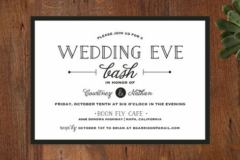 Wedding Eve Bash Rehearsal Dinner Invitations by Maison Yellow at minted.com