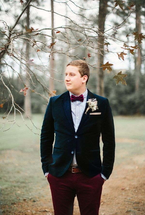 Grooms' Wine Colored Bow Tie with Navy Blazer and Burgundy Pants | Autumn Wedding Inspiration