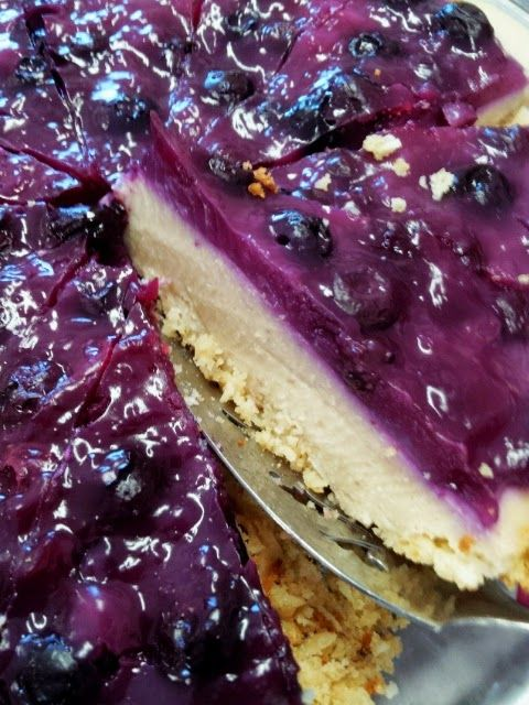 Tofu Cheesecake (vegan, gluten-free). Our Veggie School teacher brings this to potlucks.  It's very tasty but I would sub coconut oil for the oils in the recipe.