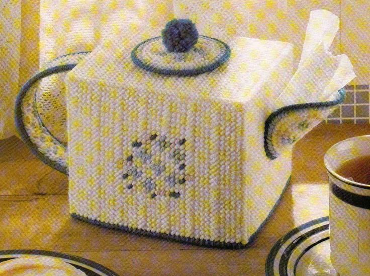 COUNTRY TEAPOT TISSUE BOX COVER PLASTIC CANVAS PATTERN INSTRUCTIONS ONLY