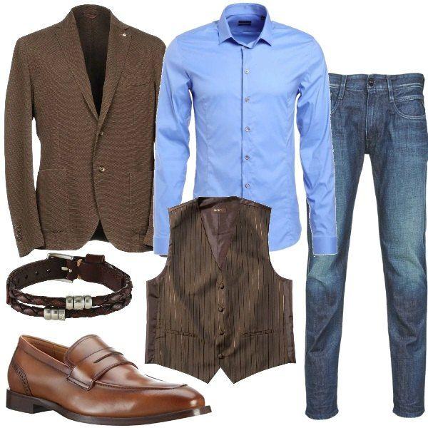 completo giacca blu e chinos grigio