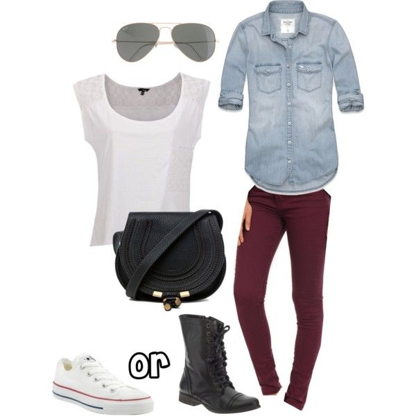 Outfit- Denim Shirt and Maroon Skinny Jeans