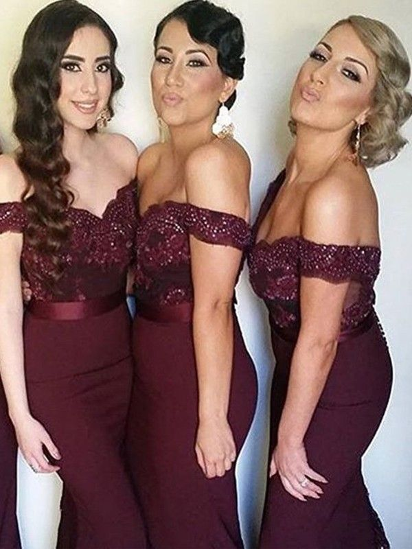 Burgundy Sheath Off-the-Shoulder Brush Train Bridesmaid Dresses with Lace