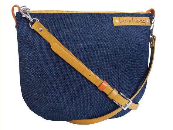 MIX series  navy blue messenger crossbody bag whith by bandabag