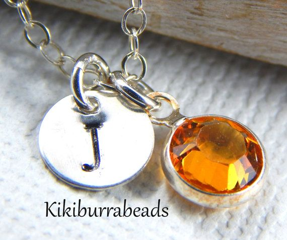 Initial necklace birthstone necklace by #Kikiburrabeads on #Etsy #birthstonenecklace#sterlingsilver#personalized#initialnecklace
