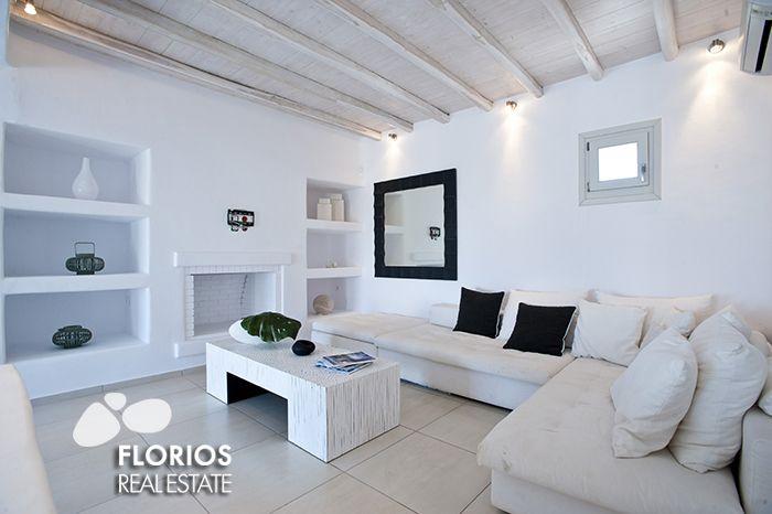 The spacious living / dining room of the FL1486 Villa for Sale on Mykonos island Greece. http://www.florios.gr/en/mykonos-property/9.html