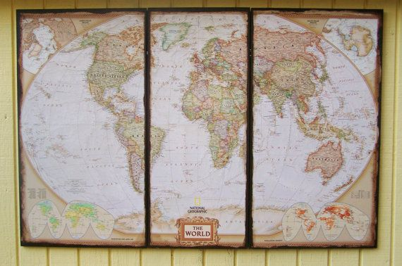 Large World Map 3 Panel Wood. Distressed World Map Art. Wall Decor. on Etsy, $180.00