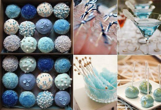 19 kuchen blau hochzeit rosa ponpon cocktail getraenke Eine blaue Hochzeit – die Farbe der Himmel und des Meers