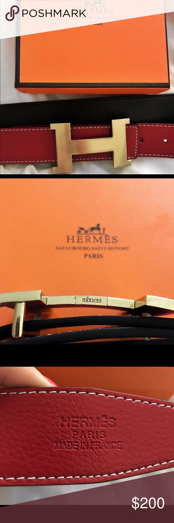 Hermes reversal belt black / red size UA Brand new UA Hermes belt. Black and red reversal. Never worn, looks absolutely perfect and contains box. Got it as a gift! It fits any size from a 26-31 as you can punch new holes. Hermes Accessories Belts