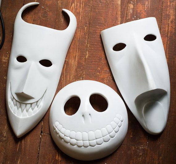 inspired Lock Shock Barrel masks UNPAINTED Nightmare Before Christmas movie animation halloween