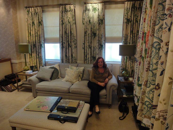 A display of Sanderson fabrics, window treatments & furniture inside the Harlequin Showroom.
