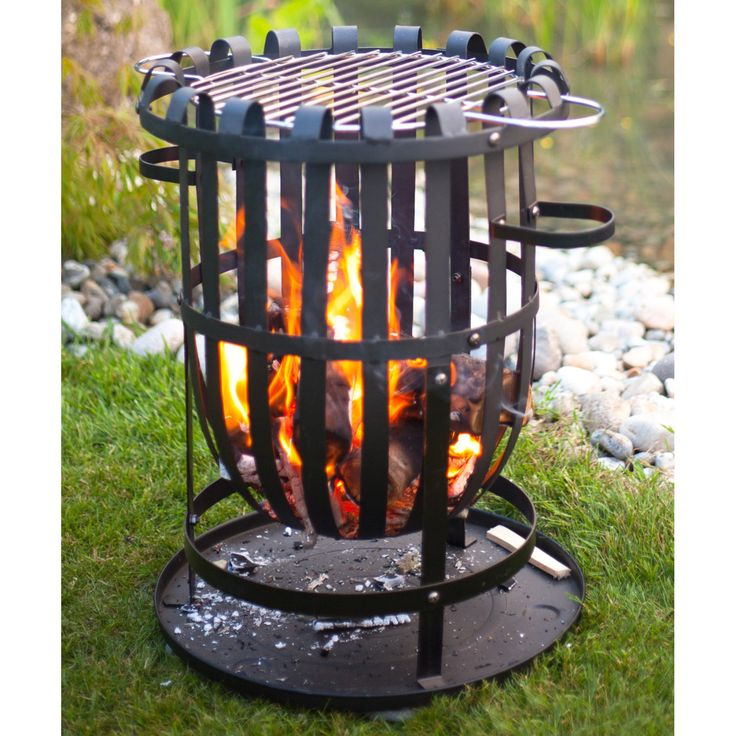 La Hacienda Vancouver Fire Pit Basket with FREE Grill Grate - 56043BUS