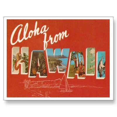Vintage Hawaii Post Card. THIS is exactly what I was originally thinking! I love how the images are inside of the lettering and how the blanket color outside of the lettering still has a little bit of white etching to keep it from being boring.