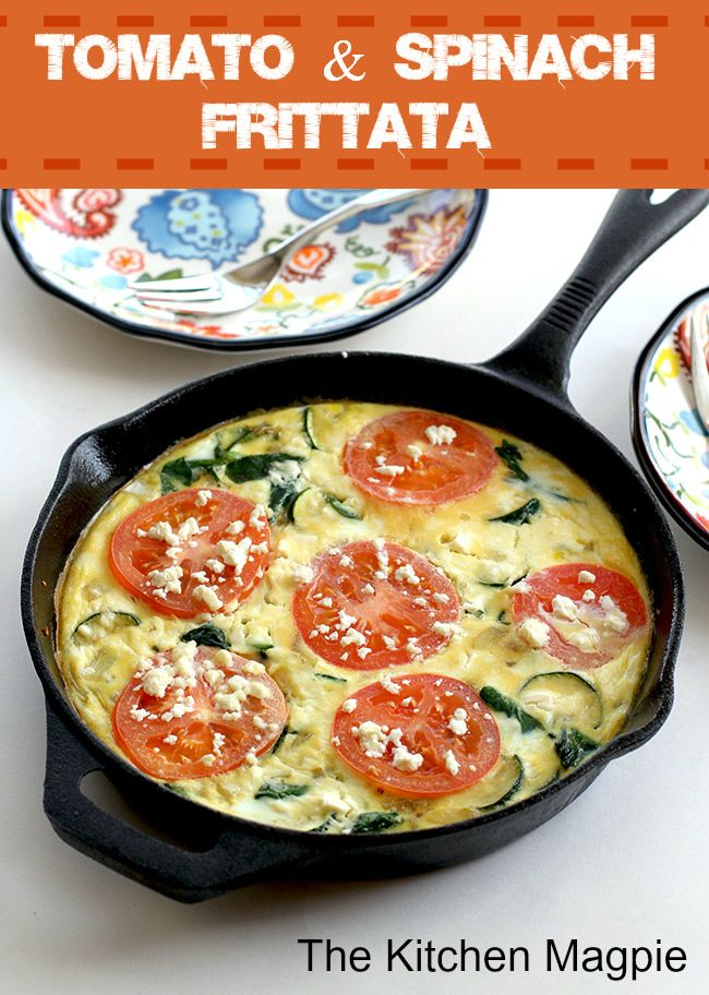 Easy, fast and healthy spinach, tomato and Feta frittata! I may try this this week.