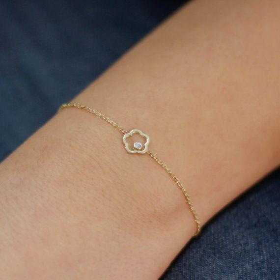 14K gold bracelet flower shape with a white by KyklosJewelryLab