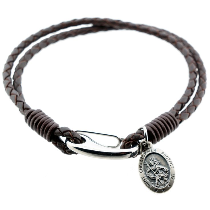 St Christopher medal with men's black,brown or grey double Strap leather bracelett FREE ENGRAVING
