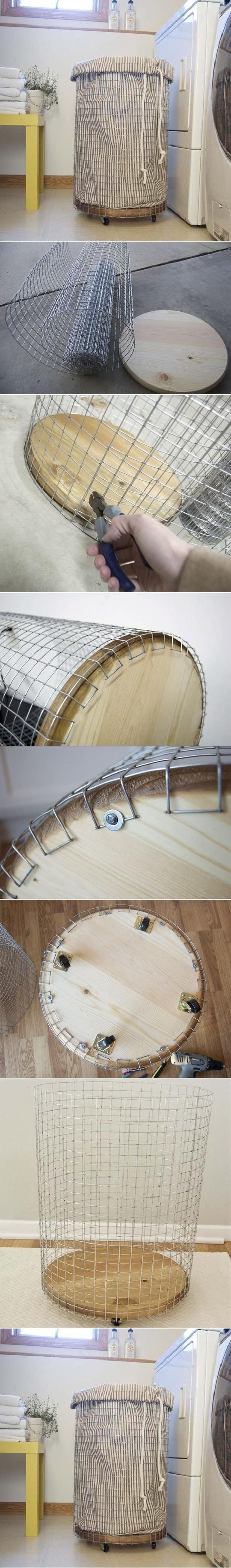DIY Easy Laundry Basket, maybe spray paint white before addling castors...