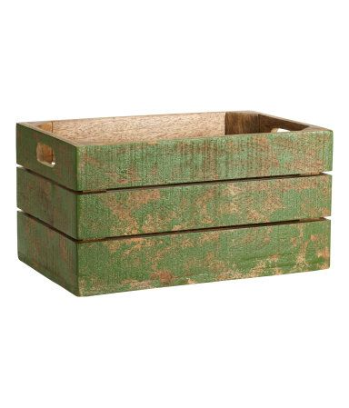 Small painted wooden box with an antique-look finish. Handles on short sides. Size 5 x 6 1/2 x 10 1/4 in.