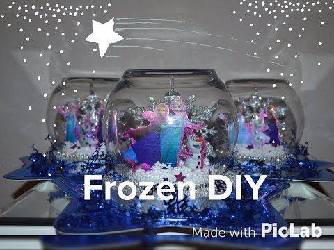 DOLLAR TREE FROZEN PARTY CENTERPIECE DIY! EASY SNOW GLOBE! - YouTube