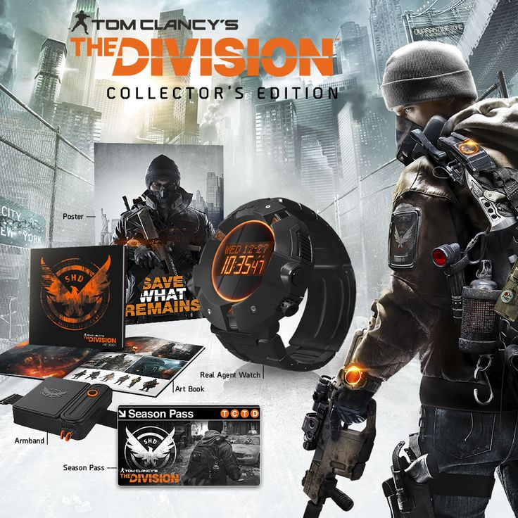 Tom Clancy's The Division Collector's Edition includes the game, Season Pass, real agent watch, poster, agent armband, and art book. Tom Clancy's The Division is a revolutionary next-gen experience that brings the RPG into a modern military setting for the first time. In the wake of a devastating pandemic that sweeps through New York City, basic services fail one by one, and without access to food or water, the city quickly descends into chaos. As an agent of The Division, you'll…