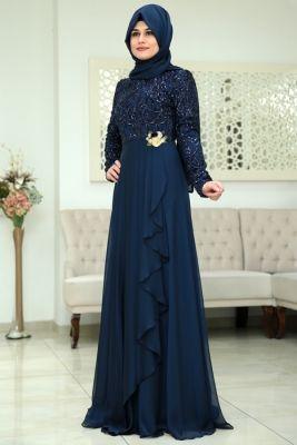 Som Fashion Lacivert Hümaşah Tesettür Abiye Elbise