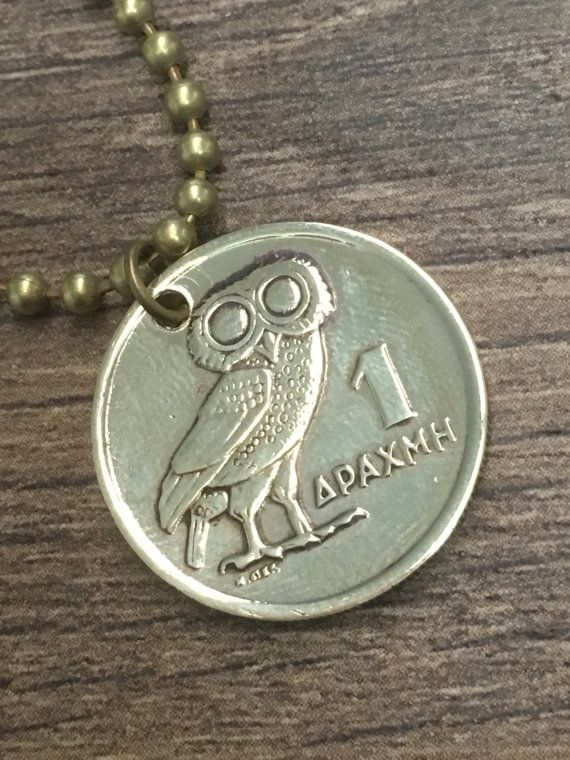 1973 greek drachma coin pendant necklace  owl by CoinGiftShop