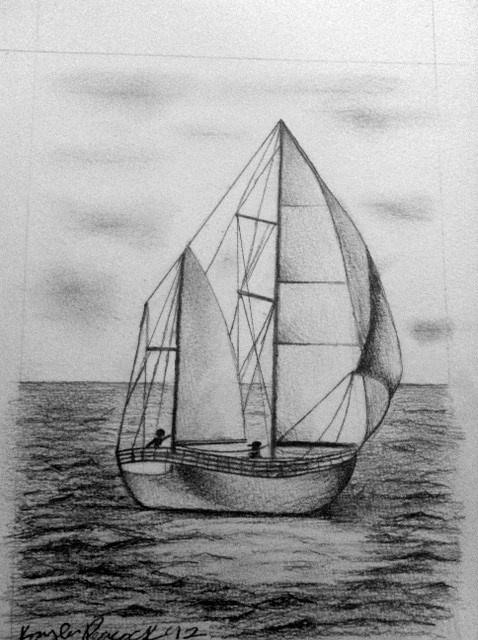 Sailboat Sketch. | Sailboat drawing, Yacht