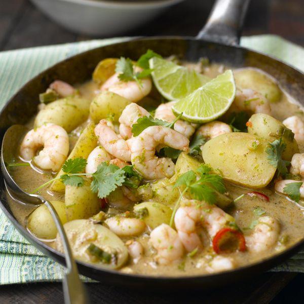Hier maak je indruk mee: Curry van aardappelen en garnalen #SnelKlaar #WWrecept #WeightWatchers