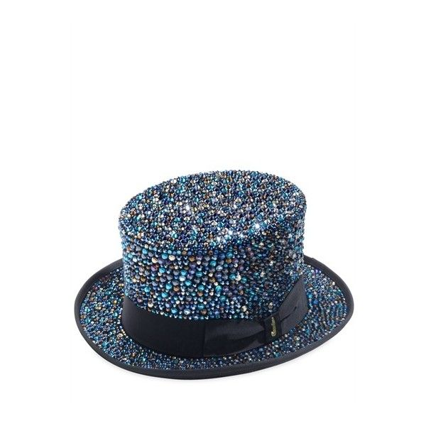 """Borsalino """"Crystal Lovers"""" Limited Edition Top Hat ($4,745) ❤ liked on Polyvore featuring accessories, hats, blue, jewelry, women, top hat, band hats, borsalino, crystal hat and borsalino hats"""