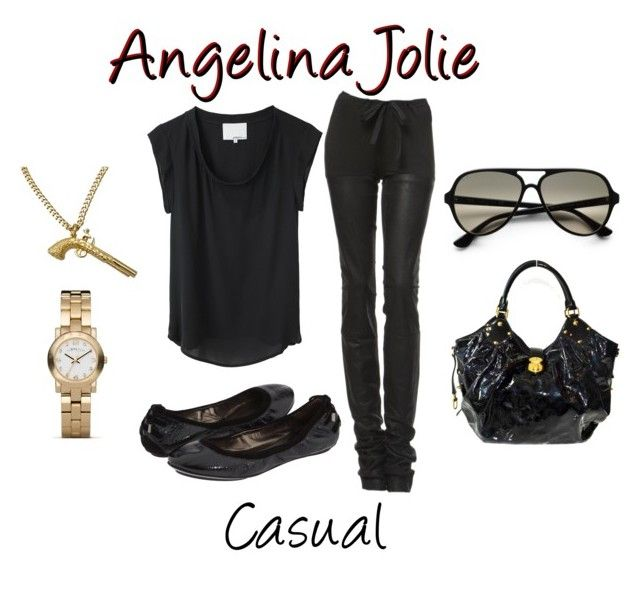 """Casual Angelina Jolie"" by stephanie-visconti ❤ liked on Polyvore featuring art, ballet flats, leather pants, t shirt, leather, angelina jolie and louis vuttion"