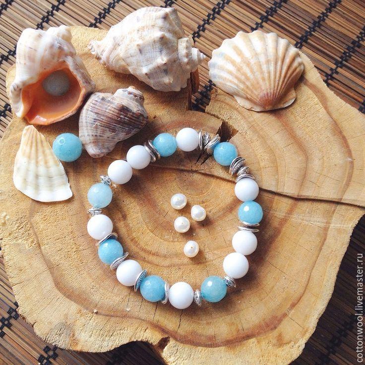 """Купить Браслет """"Нежность Незабудок"""" - голубой, браслет, Браслет ручной работы, браслет из камней"""