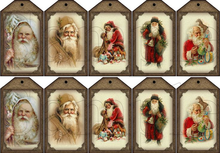 christmas name tags printable free | hang tags vintage santa instant ...