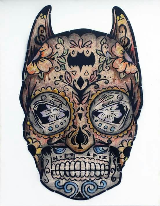 Batman sugar skull. Would make for an interesting tattoo. .