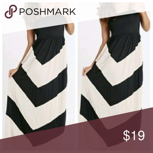 Black and white Chevron maxi dress Black and white Chevron maxi dress  Gorgeous. Unfortunately, didn't work for me. NWOT. Dresses Maxi