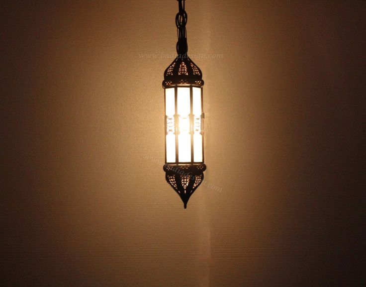 Cylinder Shaped Hanging Lantern With White Glass   LIG178