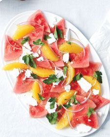 Watermelon, Orange, and Feta Salad:Watermelon, Orange, and Feta Salad. We love salty-sweet combinations, and this salad is a great play on those flavors. It's also got a refreshing crunch. Summer Potluck Recipe via Martha Stewart.