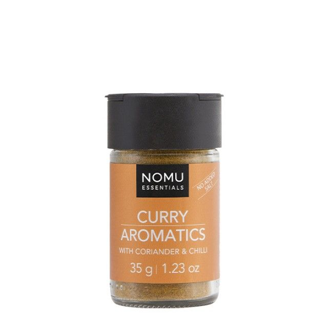 NOMU Spice Blends - Curry Aromatics: An aromatic blend of Indian spices to add warmth and depth to your dishes. An essential ingredient to finish off the perfect curry.