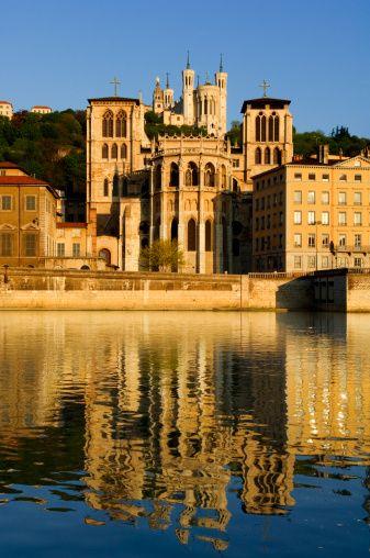 Lyon France. Cathédrale Saint-Jean et basilique Notre-Dame de Fourvière.