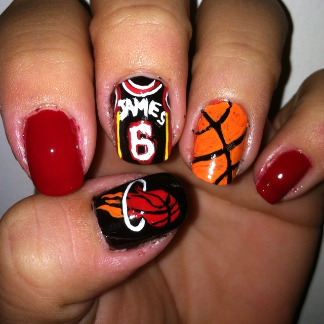 Miami Heat Sports Nail Design Michelle Reckelhoff Some Of My Favorite Things Nails Designs Art