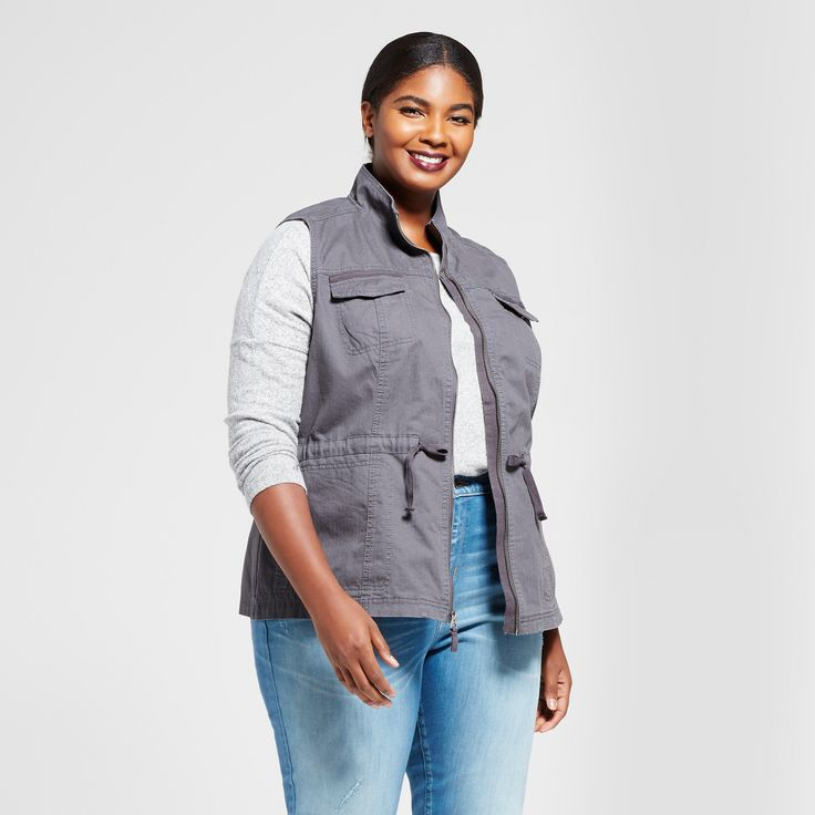 Women's Plus Size Military Vest - A New Day Gray 1X