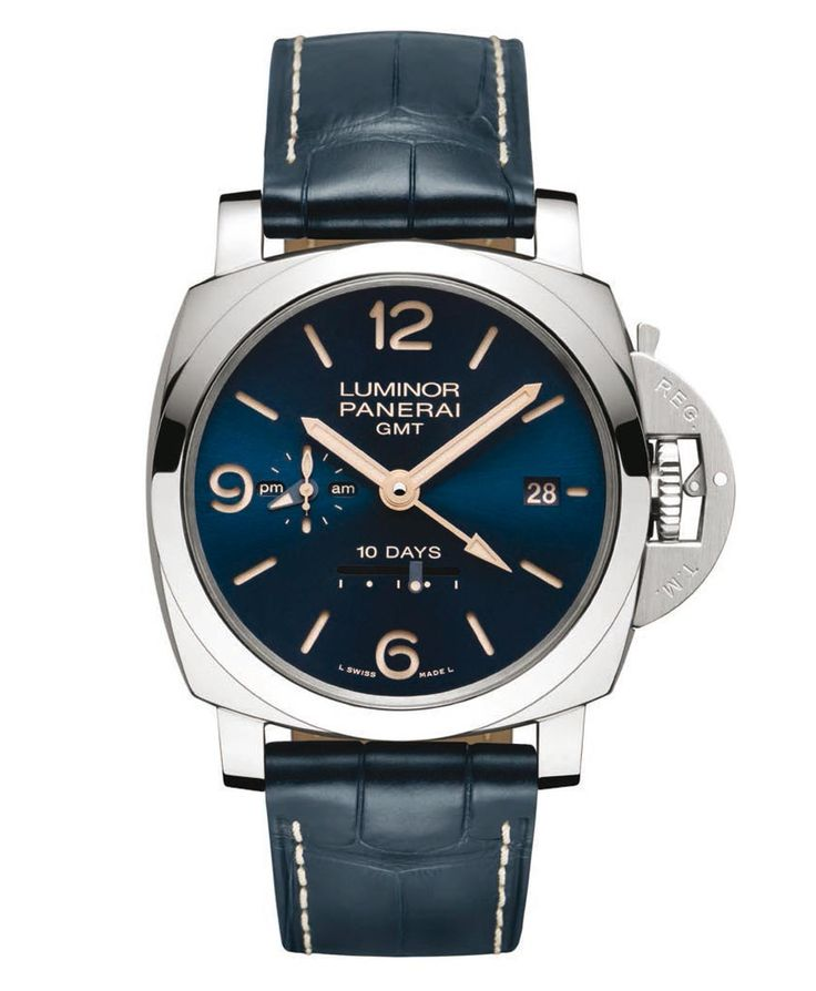 Officine Panerai Blue Dial special series. Officine Panerai produced a new series of four watches characterised by blue dial that will be exclusively available through Panerai boutiques throughout the world. Panerai Radiomir 1940 3 Days 47 mm PAM00690. Panerai Radiomir 1940 10 Days Automatic Oro Rosso 45 mm PAM00659. Panerai Luminor 1950 3 Days GMT Automatic 42 mm PAM00688. Panerai Luminor 1950 10 days GMT Automatic 44 mm PAM 00689.