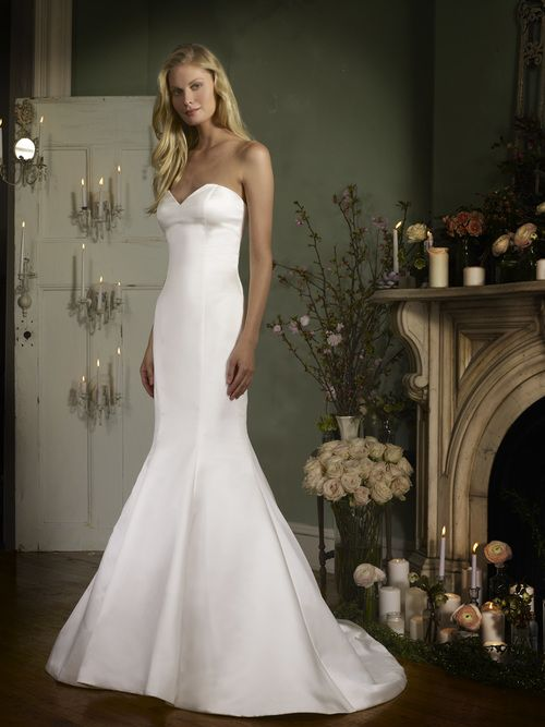Robert Bullock Veronica Wedding Dress Contemporary Satin deep sweetheart mermaid gown with buttons to hem