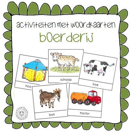 Kleuterjuf in een kleuterklas: Activiteiten met woordkaarten | Thema BOERDERIJ