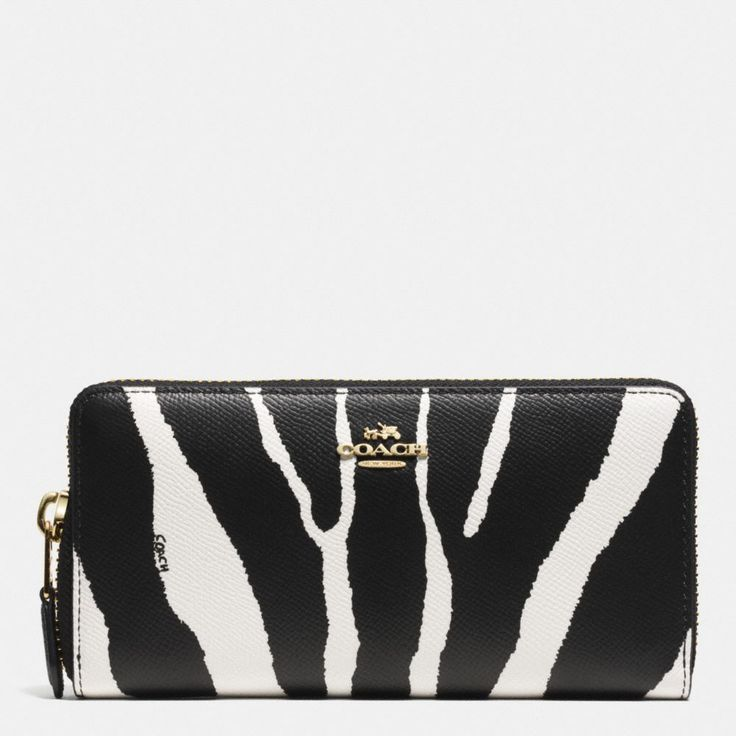 Coach The Accordion Zip Wallet In Zebra Embossed Leather